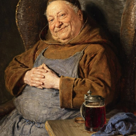 Об интересном сорте. Доппельбок. [Doppelbock]. Eduard von Grützner. A Seated Monk with a Tankard.