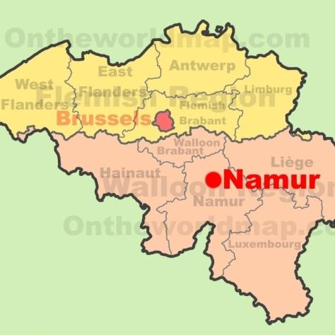 Карта Бельгии. Монастырь [Аббатство] Notre-Dame de Saint Remy. Провинция Namur.